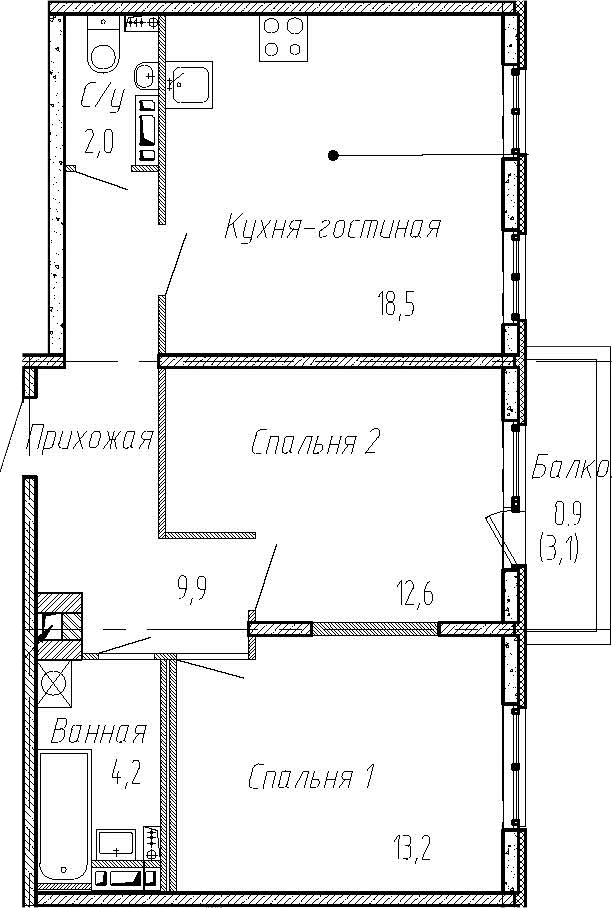 3Е-комнатная, 60.4 м²– 2