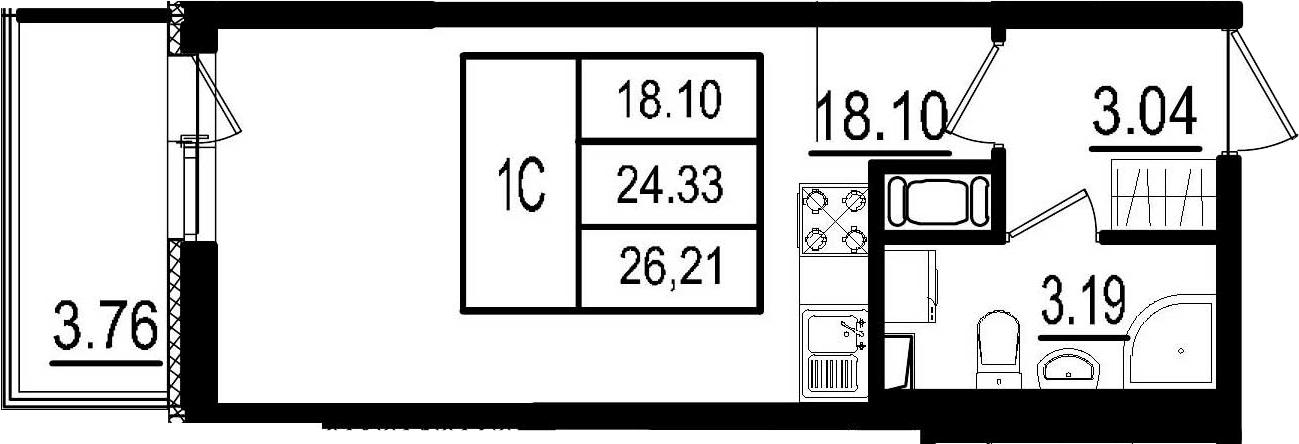 Студия, 24.33 м²