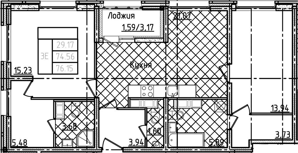 3Е-к.кв, 76.15 м²