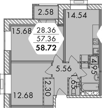 2-комнатная, 58.65 м²– 2