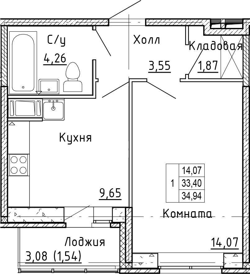 1-к.кв, 34.94 м²