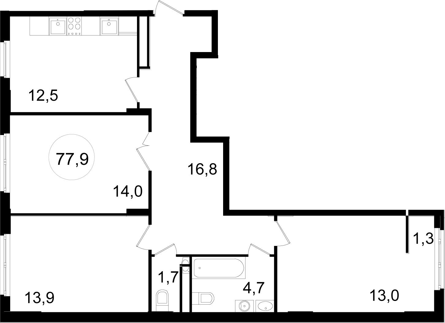 3-к.кв, 77.9 м²