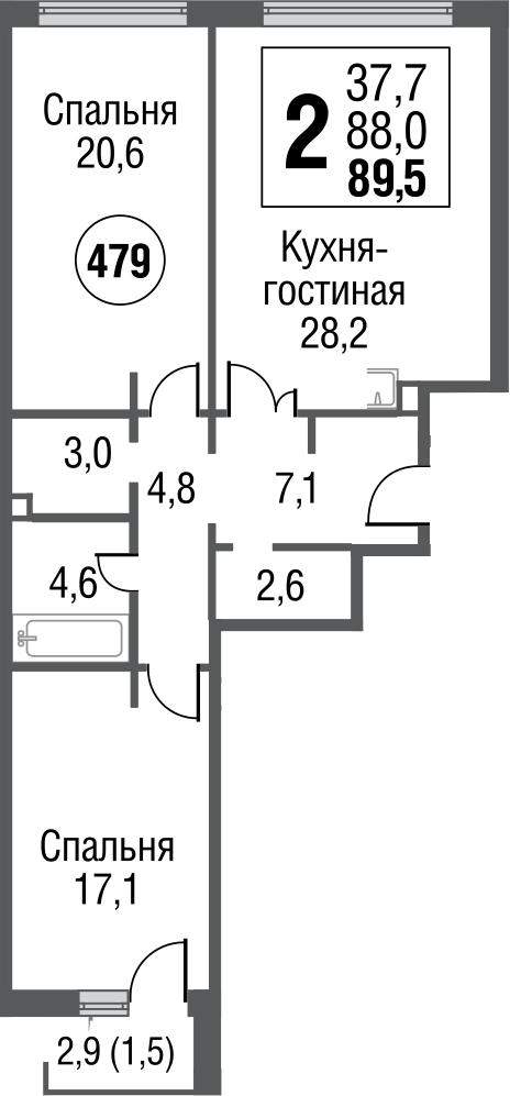 3Е-к.кв, 88.5 м²