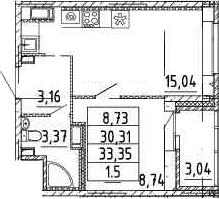 2-к.кв (евро), 33.17 м²