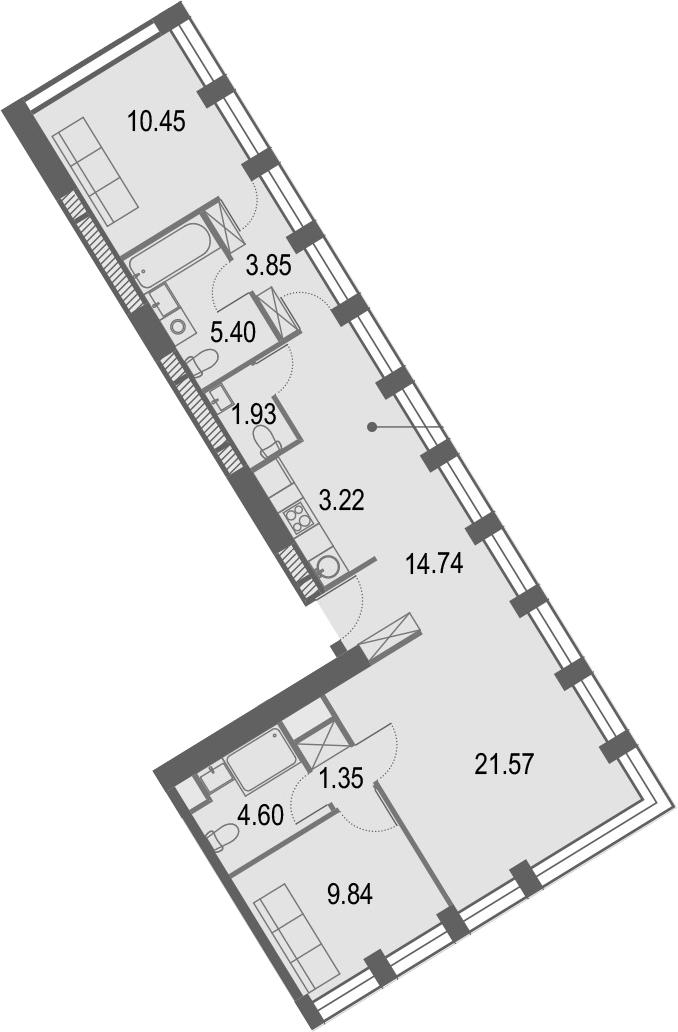 3Е-комнатная, 76.95 м²– 2