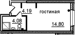 Студия, 23.07 м²– 2