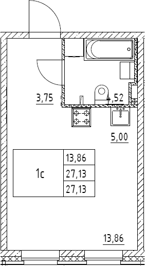 Студия, 27.13 м²