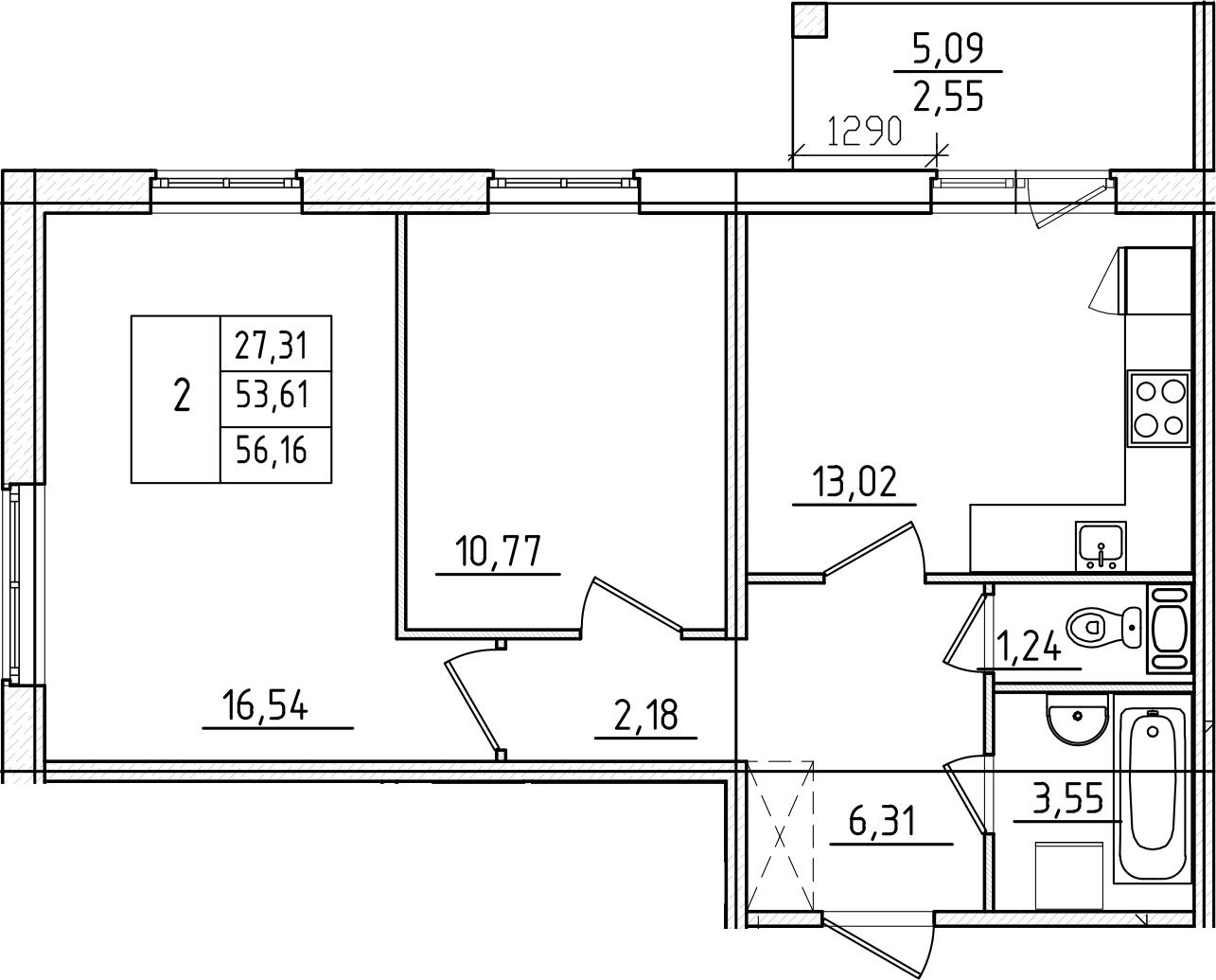 2-к.кв, 56.16 м², от 4 этажа