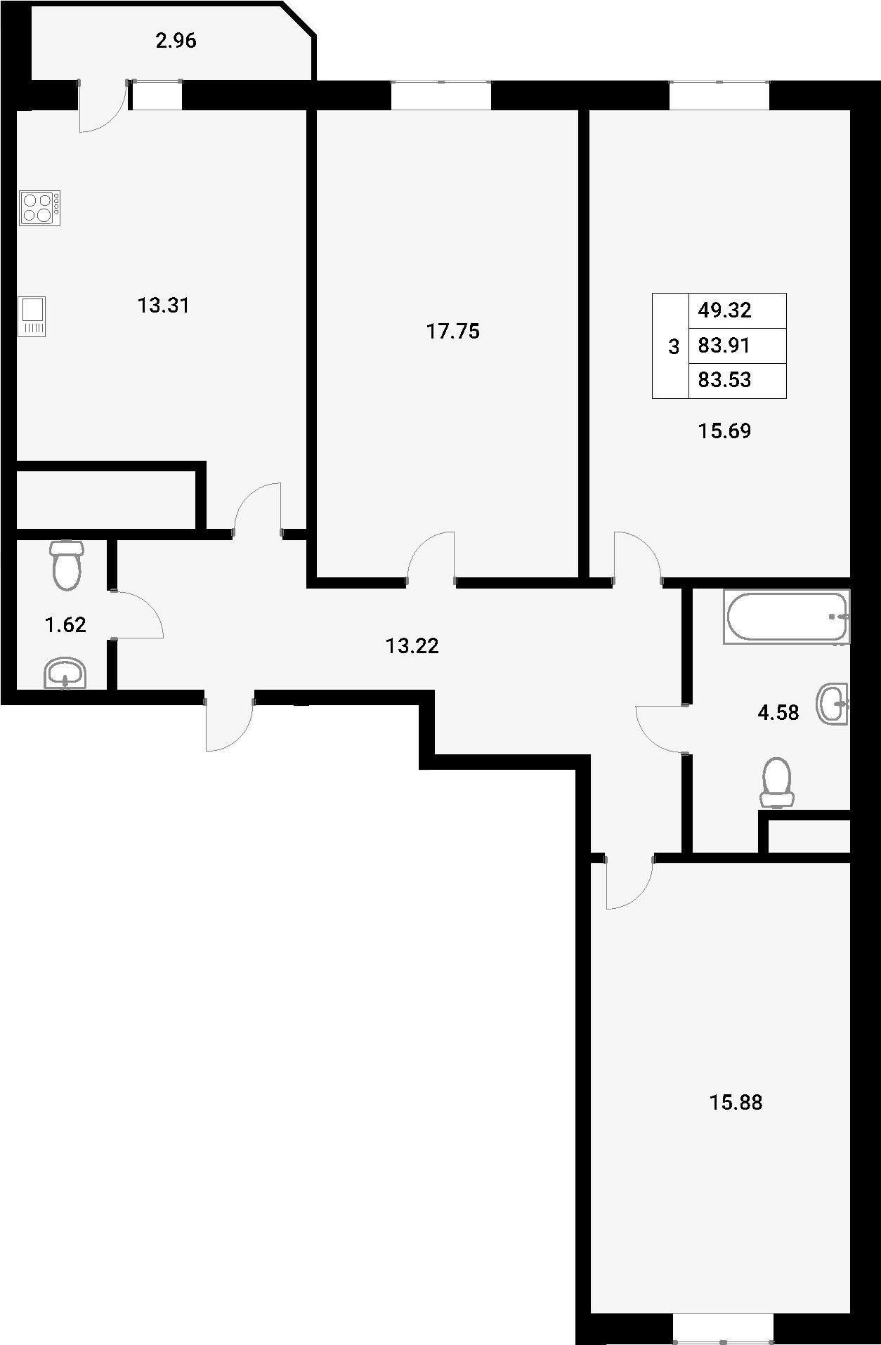 3-комнатная, 83.53 м²– 2