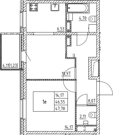 2Е-к.кв, 47.78 м², 1 этаж