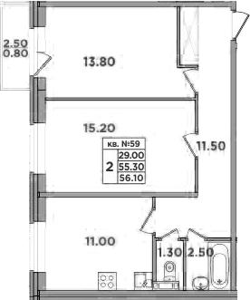 2-к.кв, 57.8 м²