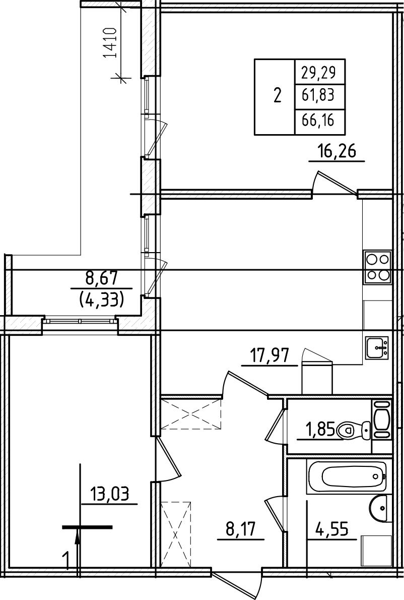 3Е-комнатная, 66.16 м²– 2