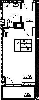 Студия, 25.02 м², 7 этаж