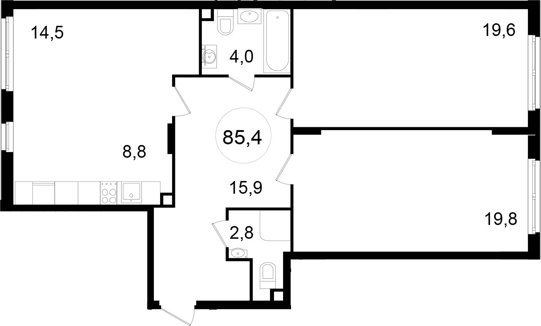 3-к.кв (евро), 85.4 м²