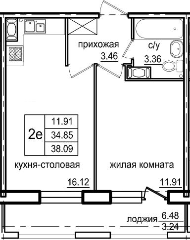2Е-к.кв, 38.09 м², 6 этаж