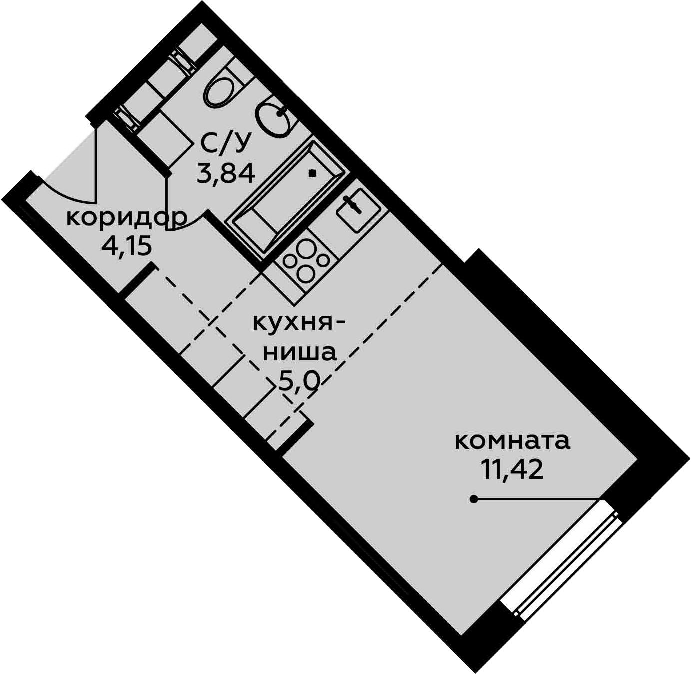 Студия, 24.41 м²– 2