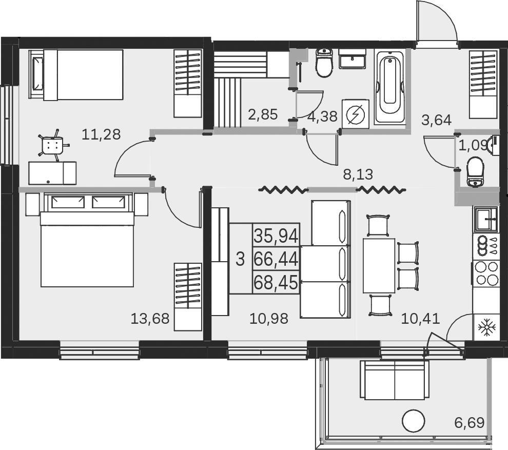 3-к.кв, 73.15 м²
