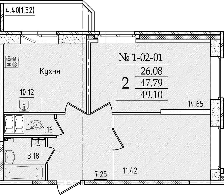 2-к.кв, 52.18 м²