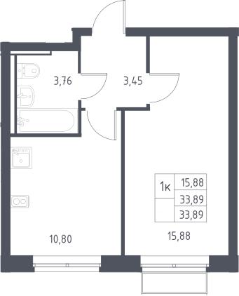 1-комнатная, 33.89 м²– 2