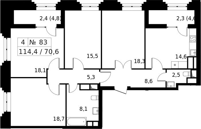 4-к.кв, 119.1 м²