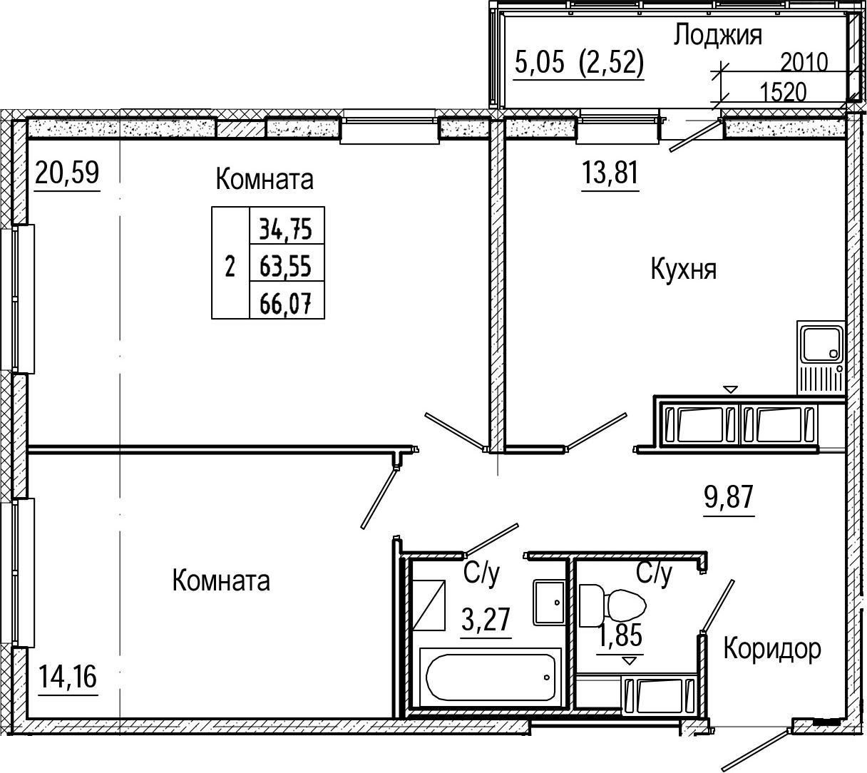 2-комнатная, 66.07 м²– 2