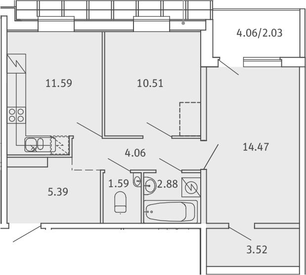 2-комнатная, 56.04 м²– 2