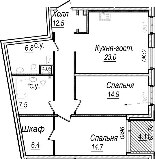 3Е-к.кв, 87.9 м², 5 этаж