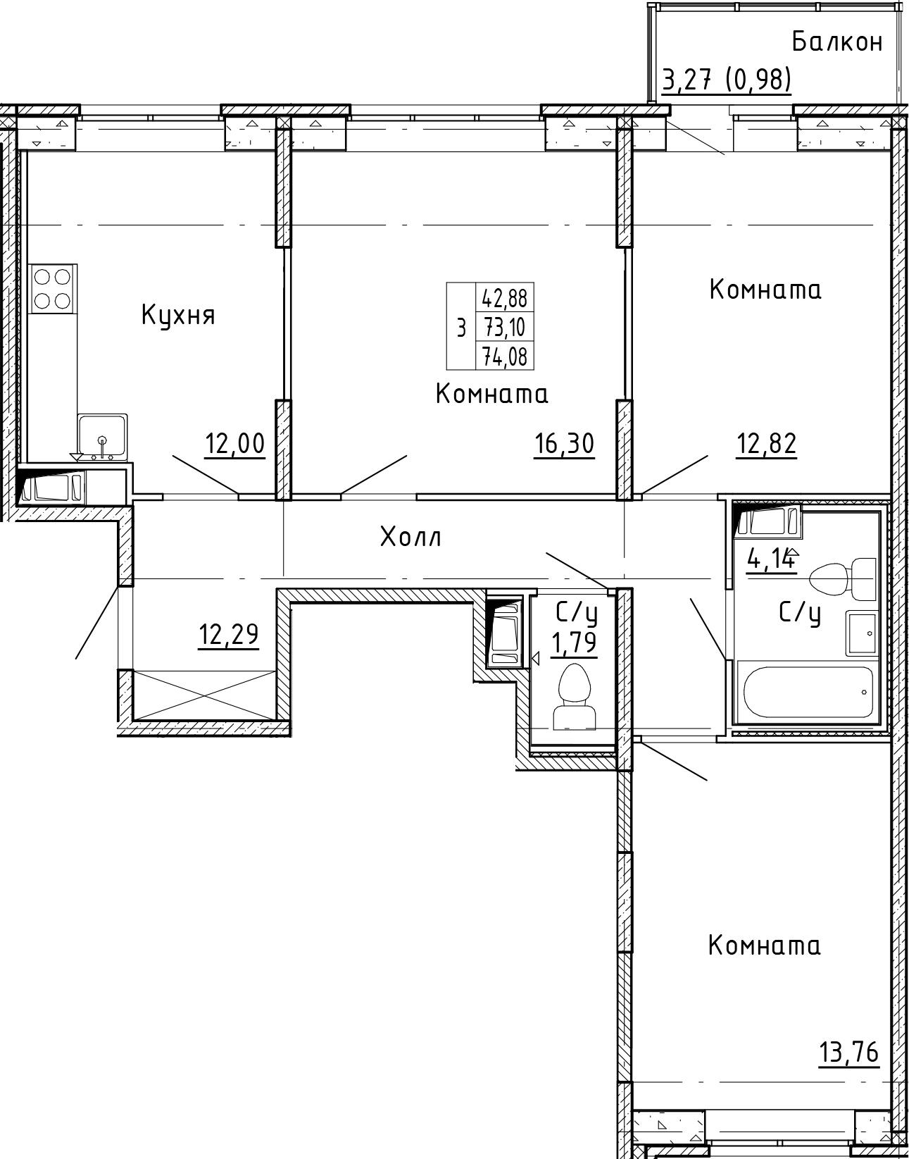 3-к.кв, 76.37 м²