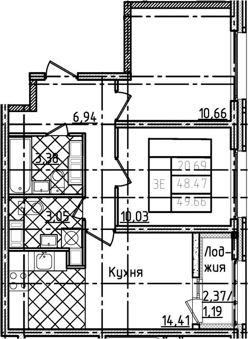 3Е-комнатная квартира, 49.66 м², 21 этаж – Планировка