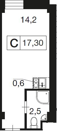 Студия, 17.3 м²– 2