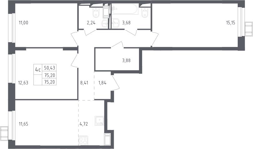 4Е-к.кв, 75.2 м², 5 этаж