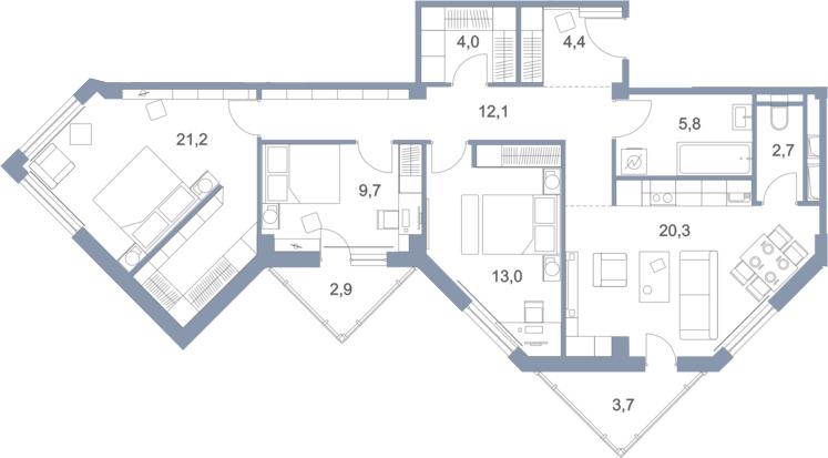 4Е-комнатная, 99.8 м²– 2