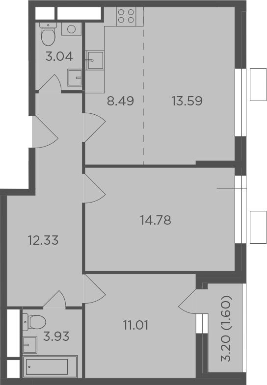 3Е-комнатная, 68.77 м²– 2