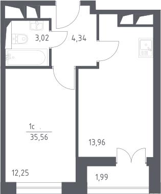 2Е-комнатная, 35.56 м²– 2