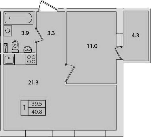 2Е-к.кв, 40.8 м²
