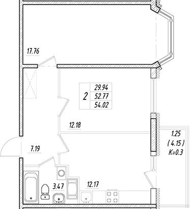 2-к.кв, 52.77 м²