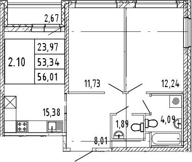 3Е-комнатная, 56.01 м²– 2