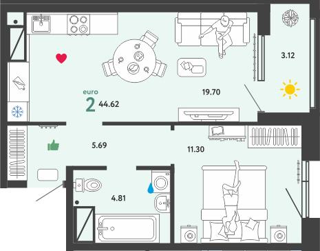 2Е-к.кв, 44.62 м², 4 этаж