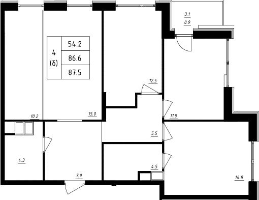 4Е-к.кв, 87.5 м²