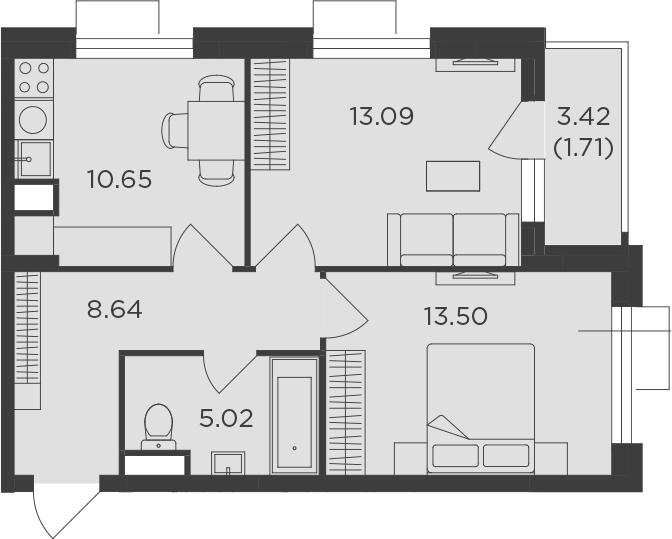 2-комнатная, 52.61 м²– 2