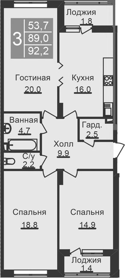 4-к.кв (евро), 95.4 м²