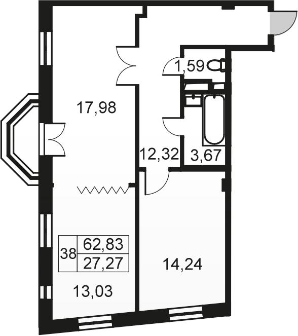 3-к.кв (евро), 62.83 м²