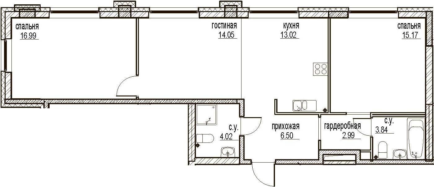 3Е-комнатная, 76.58 м²– 2