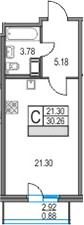 Студия, 30.26 м²– 2
