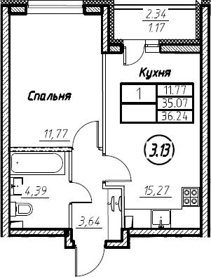 2Е-к.кв, 36.24 м², 2 этаж