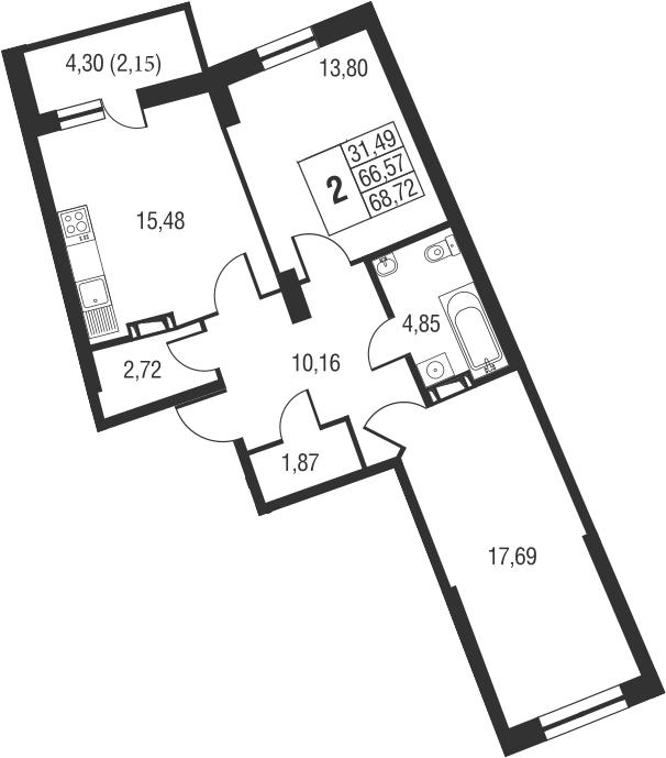 3Е-к.кв, 68.72 м², от 18 этажа