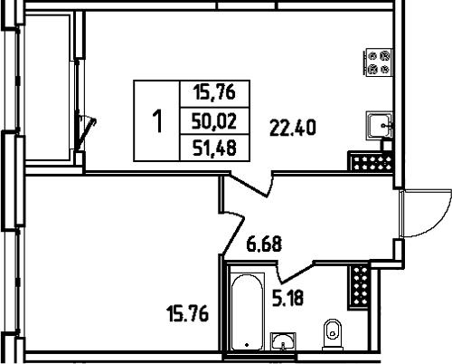 2Е-к.кв, 51.48 м², 13 этаж