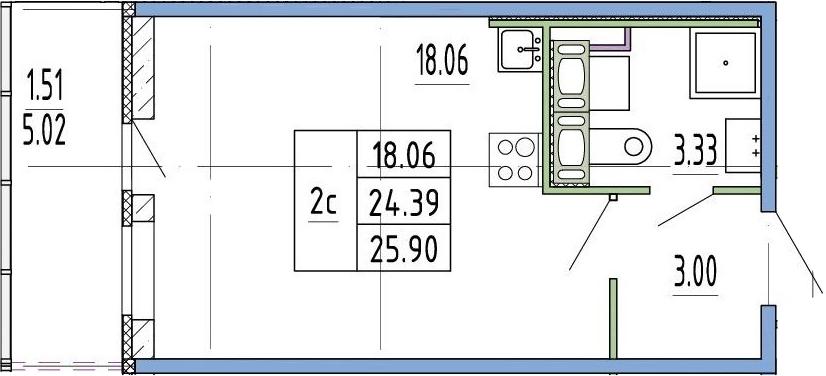 Студия, 24.39 м², 1 этаж