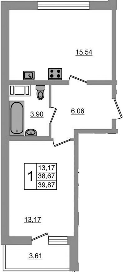2-к.кв (евро), 42.79 м²