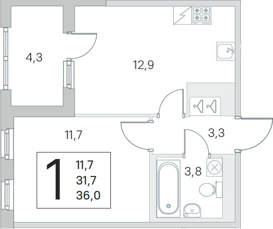 2Е-к.кв, 31.7 м², 5 этаж